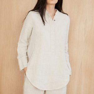 Jenni Kayne 100% Linen Pajama Top Shirt